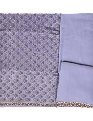 Exotic India Wisteria-Blue Salwar Kameez Banarasi Handloom Fabric With Wo - Blue