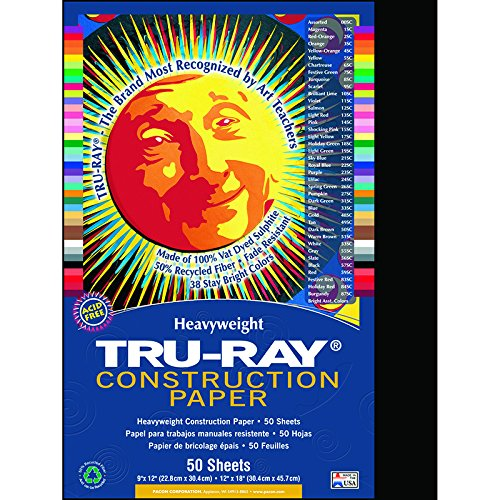 Pacon Tru-Ray Recycled Construction Paper, 76-lb., 9 x 12, Black