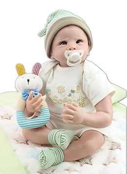 MaiDe Reborn Poupée bébé Souple En Silicone réaliste en vinyle souple Magnétique Bouche Belle Lifelike Mignon nouveau-né poupée Fille - 22 Pouces 55Cm
