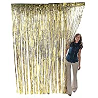 Metallic Gold Foil Fringe Curtain. 3 ft. x 8 ft. Foil