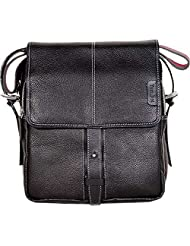 Tortoise Leather Black Messeger Bag (TOR020B)