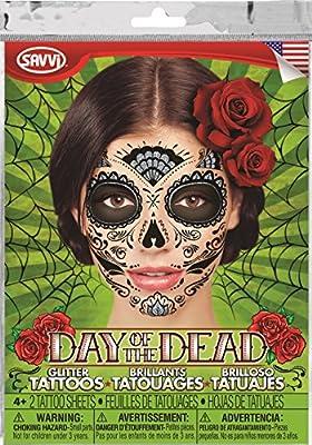 Black Glitter Skeleton Day of the Dead Temporary Face Tattoo Kit: Men or Women - 2 Kits