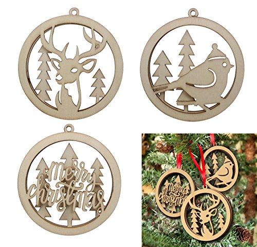 Ponerine Christmas Tree Ornaments Set Wood Hollow Xmas Decor Crafts