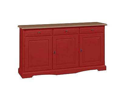 Credenza in legno massello finitura rosso, con 3 porte e 3 ampi cassetti 156x85