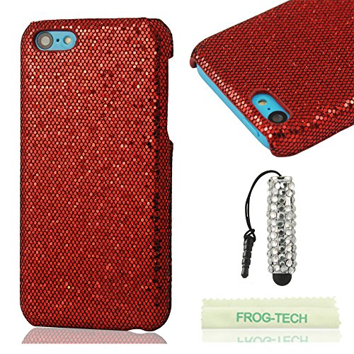 Frog-Tech Glamour & Glitz Apple Iphone 5C Case - Slim Snap-On Glitter Case, Bling Fun Colorful Sparkle Case For Your Apple Iphone 5C ,Apple Iphone 5C Cases And Covers (Ruby Red) + Silver Diamond Stylus