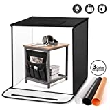 TYCKA Photo Studio Box, 80x80x80cm /31.5x31.5x31.5 Inches Foldable Photography Studio Light Tent with 5500K LED Lights,3 Backdrops (Black, White, Beige)