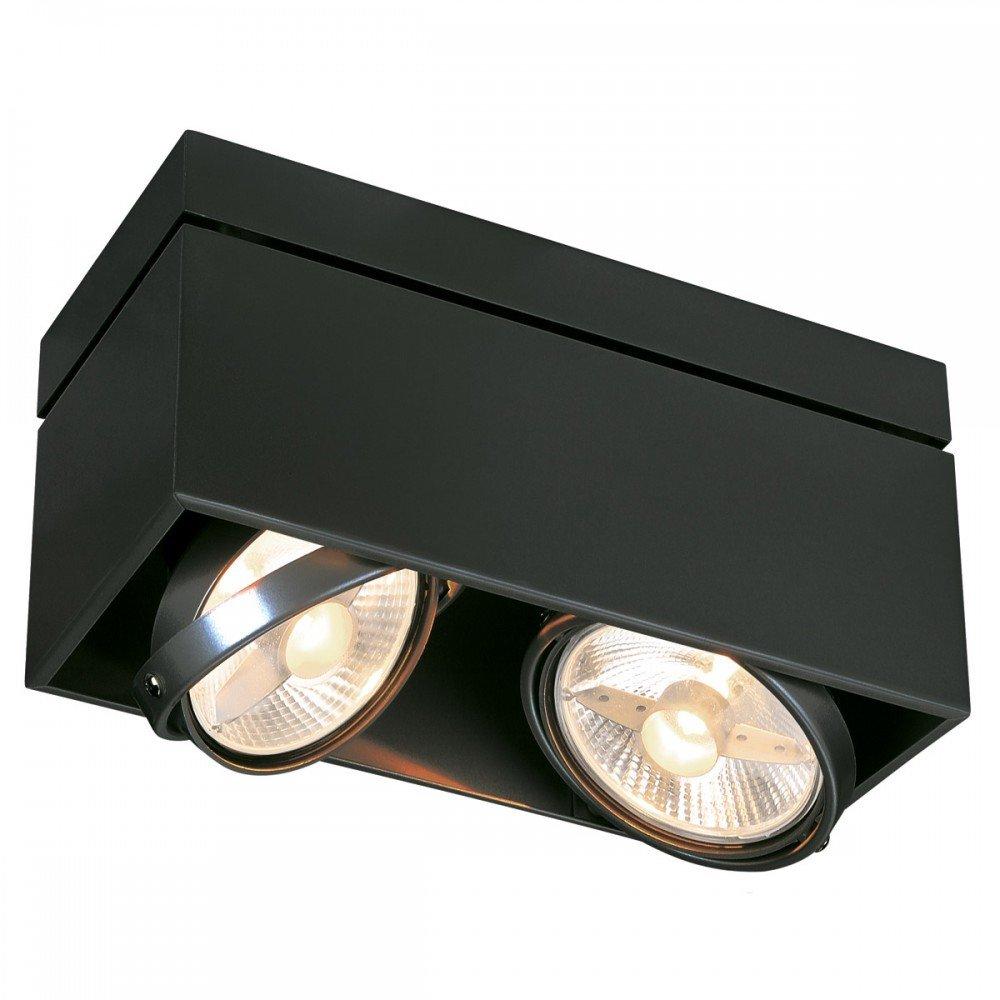 SLV Deckenstrahler Kardamod Surface Square ES111 Double, eckig, 2 x GU10, schwarz 117110