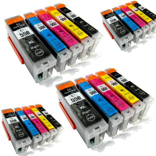 20 Youprint® YP-PGI550XL YP-CLI551XL Druckerpatronen MIT CHIP und Füllstandanzeige für Canon Pixma iP7250, MG5450, MG6350, MX725, MX925, kompatibel zu PGI550BK , CLI551C , CLI551M, CLI551Y und CLI551BK