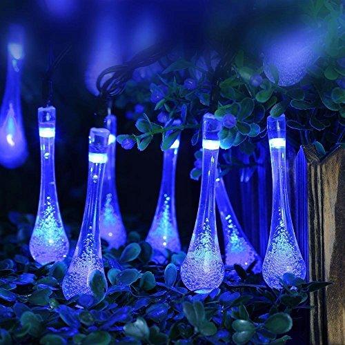 ieGeek LED50球 8m LEDイルミネーションライト ソーラー充電式 LEDストリングライト ガーデンライト 光センサー 内蔵 自動ON/OFF 発光モードは8パターン 省エネ 長寿命 高輝度 屋外用 防水IP64 クリスマスやイベントなど大活躍! (ブルー 50球)