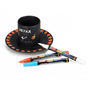 ZEYAR Premium Acrylic Paint Pen, Water Based, Extra Fine Point, Nylon Tip,18 Colors, Odorless, Acid Free and Safe, Opaque Ink, Environmental Friendly, Professional Paint Marker Manufacturer (Color: black, white, gold, silver, red, yellow, green, blue, pink, violet, orange, brown, zesty lemon,ligh, Tamaño: Extra fine point)