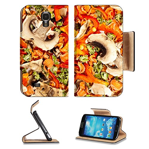 Luxlady Premium Samsung Galaxy S4 Flip Case Dry spices background A set of carrots mushrooms celery red pepper IMAGE 23181582 Pu Leather Card Holder Carrying