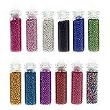 Bmc 12 Tube Mix Color Nail Polish Art Mini Caviar Bead Studs Manicure Accessory