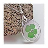 Acrylic Charm Necklace with Real Genuine Four Leaf Clover