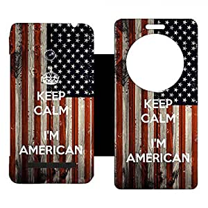 Skintice Designer Flip Cover with Vinyl wrap-around for Asus Zenfone 5 , Design - keep calm american