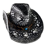 Cowboyhut Strohhut Westernhut Hut mit Hutband schwarz