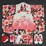 七五三着物 三歳女の子被布セット  リョウコキクチ 黒地 桜刺繍 雛祭り お正月 足袋付き10点フルセット
