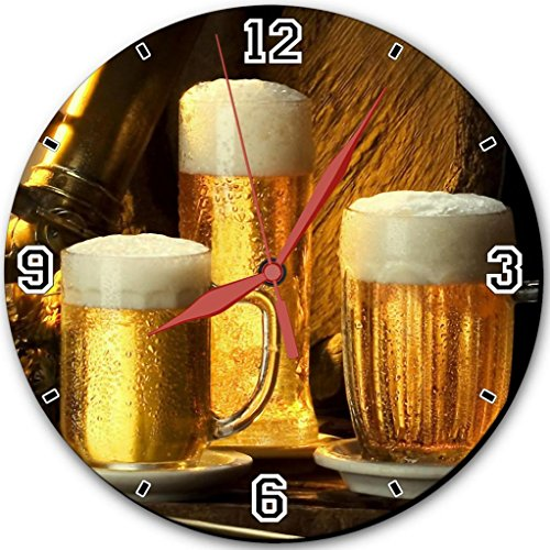 """Three Pints Of Beer Wheat 3D Punktail'S Collections 10"""" Quartz Plastic Wall Round Clock Customized Made To Order"""