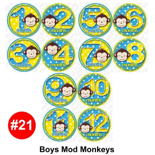 Monthly Infant Stickers - BOY MOD MONKEY Baby Month Onesie Stickers Baby Shower Gift Photo Shower Stickers, baby shower gift by OnesieStickers - 1