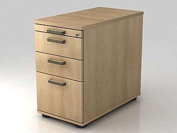 Stand Container 80cm, 2schub, 1Cartelle Sospese, castello, Strisce, con manico in legno di quercia