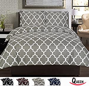 Egyptian Comfort 3-Piece DUVET SET, Velvety Brushed Printed Microfiber - Luxurious, Hypoallergenic, Breathable & Soft - Wrinkle, Fade & Stain Resistant - Hotel Quality By Utopia Bedding (Queen, Grey)