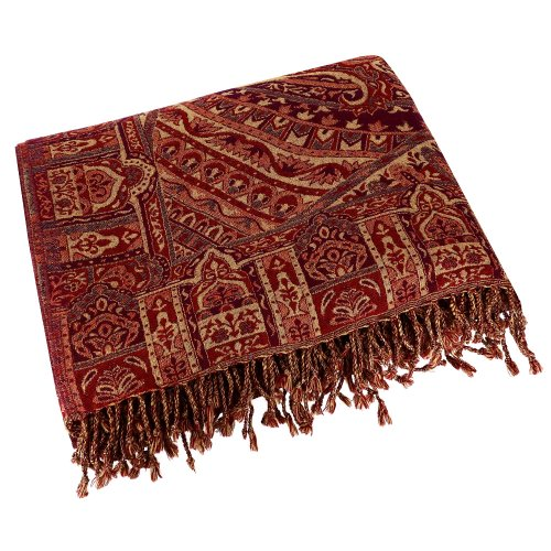 Paisley Throw Bedpread Queen Size Indian Traditional Pure Wool 100 X 84 Inches front-835894