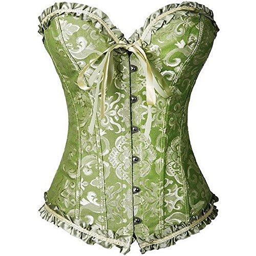 U-Pretty-Womens-Floral-Bustier-Fancy-Boned-Corset-Dress-Sexy-Laced-Lingerie-456819