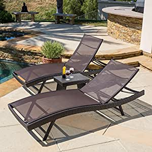 Eliana Outdoor 3pc Brown Mesh Chaise Lounge Chairs Set Patio