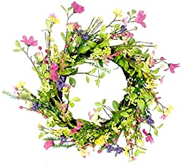 Spring Floral Wreath 18 inches Colorful Flowers and Berries