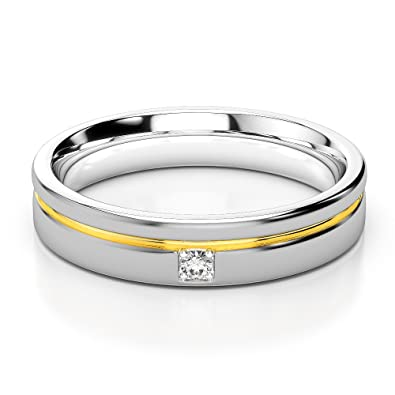 White & Yellow Gold Mens Fusion Diamond Wedding Ring AGDR-1330-IH