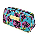 JUJU® Cosmetic Makeup Bag Blueload Purple Black Rose Woman Case Wallet Strap Stylus