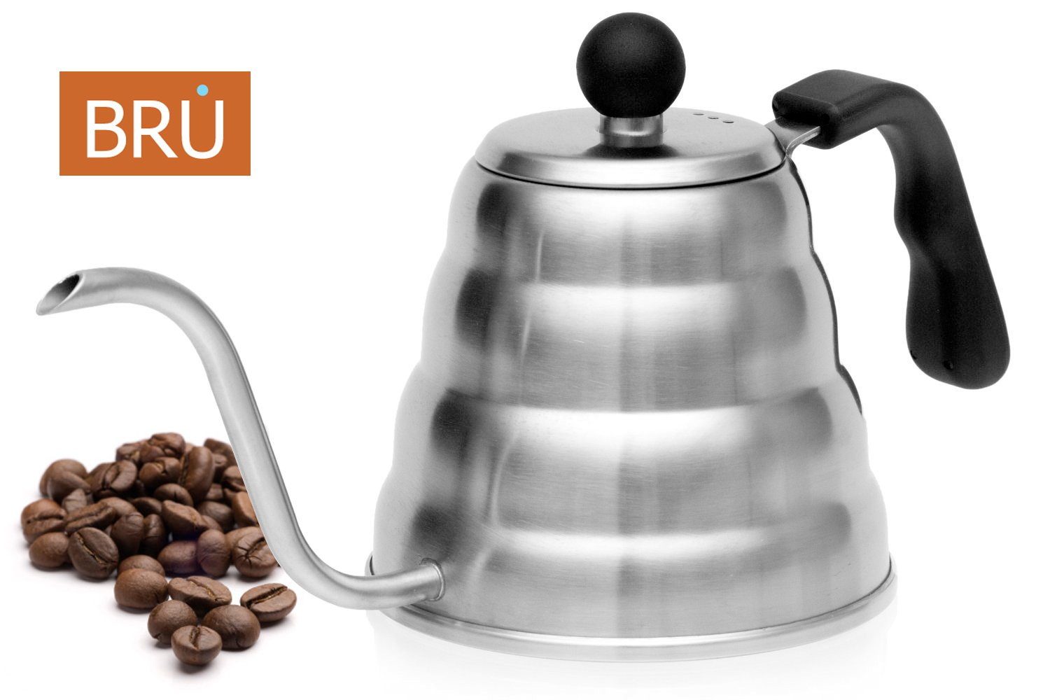 NEW! Pour Over Kettle - BRU Premium Coffee & Tea Drip Pot, Stainless Steel, 1.2L