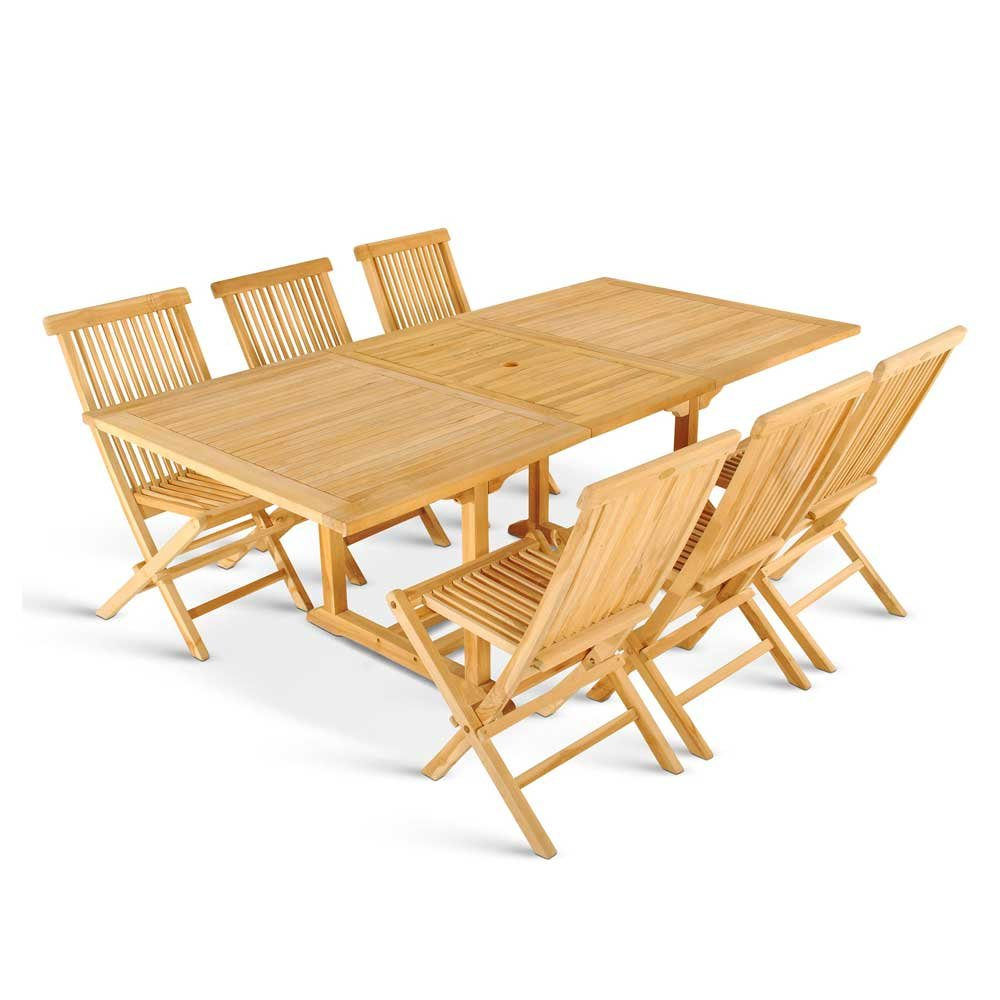 Gartensitzgruppe aus Teak Massivholz ausziehbar (7-teilig) Pharao24