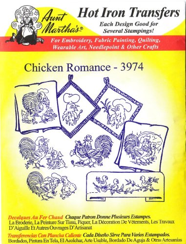 Chicken Romance Aunt Martha'S Hot Iron Embroidery Transfer front-85044