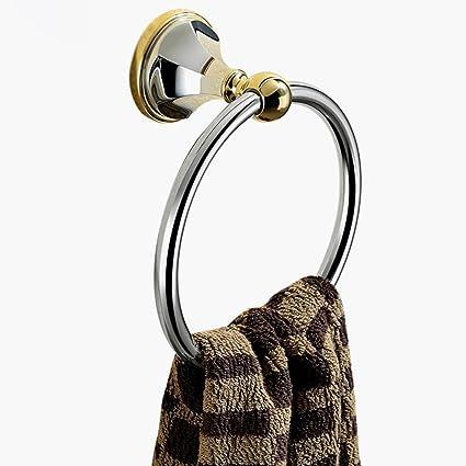 KKY-ENTER Semplicità moderna Copertura puro rotonda a muro rotondo Asciugamano rotondo Bagno Asciugamano Bagno Anello Forte capacità portante ( Colore : Oro )