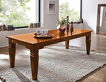 Table à manger 260x100cm - Bois massif d'acacia laqué (Miel) - OXFORD #0609