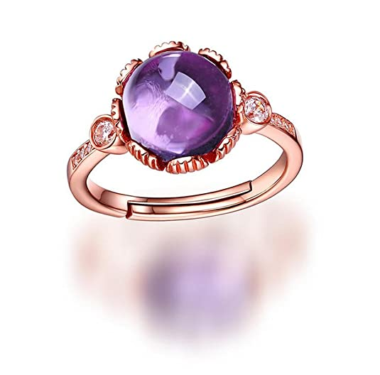 VORMOR 18K Rose Gold plated 925 Sterling silver Round Natural Gemstone Amethyst Open Ring