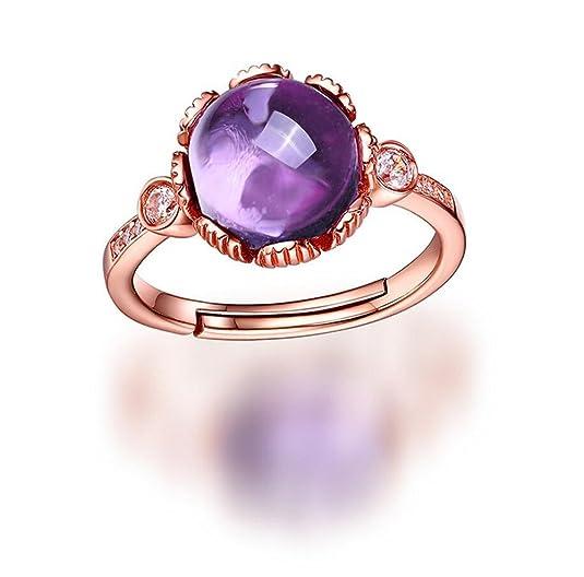 VORMOR 18K Rose Gold plated 925 Sterling silver Round Natural Gemstone Amethyst Open Ring