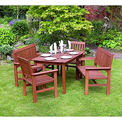 Kingfisher Tropicana 5 Piece Hardwood Garden Furniture Set