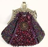 Vintage Style Fully Beaded Handmade Evening Handbag / Purse W/Shoulder Chain Purple