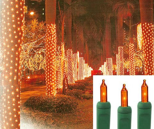 2' X 8' Orange Amber Led Net Style Tree Trunk Wrap Christmas Lights - Green Wire