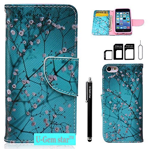iPhone 5C Case,U-Gem star Deluxe PU Leather Folio Wallet Case Cover for Apple iPhone 5C,with SIM Card Adapter Kit+Screen Protector+Black Stylus (Cherry Blossom) (I Phone 5c Cases Gems compare prices)