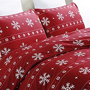 Vaulia Lightweight Microfiber Duvet Cover Set, Snowflake Pattern Design for Christmas Season, Red Color - Full/Queen Size