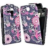 Accessory Master - Coque en cuir pour Samsung galaxy S3 mini i8190 - Noir/Rose Fleur Papillon