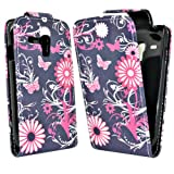 Phonedirectonline - Pink / Black butterfly flower design leather Case Cover Pouch For Nokia lumia 610