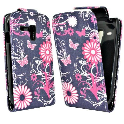 24/7 Kaufhaus- Rosa Schmetterling Blumen design Elegantes Leder Etui / Pouch / Tasche fur Nokia lumia 610