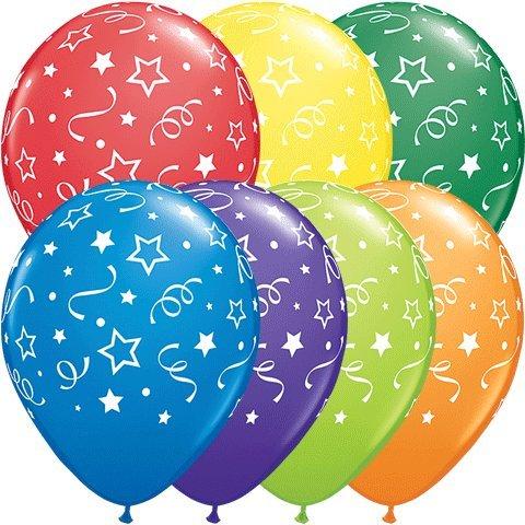 """PIONEER BALLOON COMPANY Round Stars Dots & Confetti Balloon, 11"""", Multicolor"""