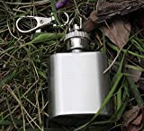 ibuyfun Portable Mini Stainless Steel Hip Flask Alcohol Flagon with Keychain Household