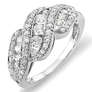 1.00 Carat 14k White Gold Round Diamond Ladies Cocktail Ring, Size 7