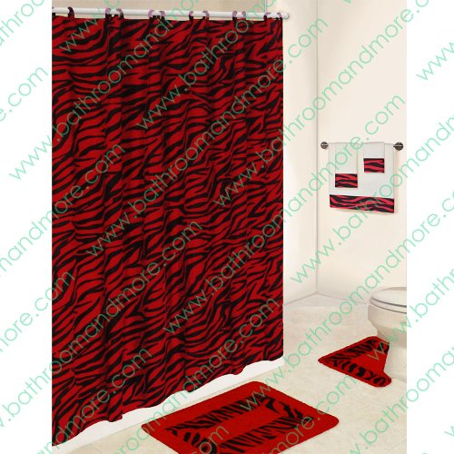 Black and Red Zebra 5-piece Bathroom Set: 2-rugs/mats, 1-fabric Shower Curtain, 12-fabric Covered Rings, 3-pc. Decorative Towel Set