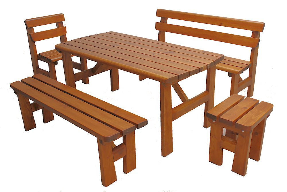 "Massivholz Garten Sitzgruppe ""Finland-2"" , Kiefer , Holzfarbe Nuss , Holzdicke : 42 cm , Set : 2 x Gartenbank , Gartenstuhl + Hocker , Massivholztisch . jetzt bestellen"